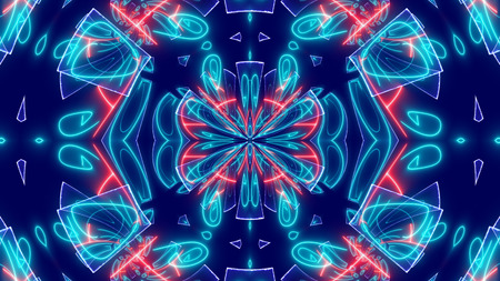 A neo-geo 3d rendering of some psychedelic backdrop with whirling blue ovals and crystals, bright and curvy lines shimmering in the blue background.  It looks hypnotic and magic. Banco de Imagens - 90466368