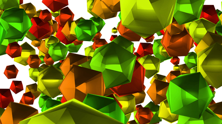 A Christmas looking 3d rendering of many multi corner balls of a green, red and blue colors. They fly around in a white background. They look like New Year decorations and lead to a festive mood.