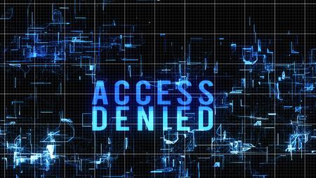 Une illustration 3d hi-tech d'une commande d'accès numérique refusée en lettres majuscules bleus placées dans un cyberespace fluide avec des formes étincelantes informes, un réseau blanc sur fond noir.