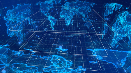 An enigmatic 3d illustration of a cyberspace mass media map with some signs and symbols, a light blue cubic grid, many shining spots, glowing broadcasting links, effigy looking continents.    Stock Photo