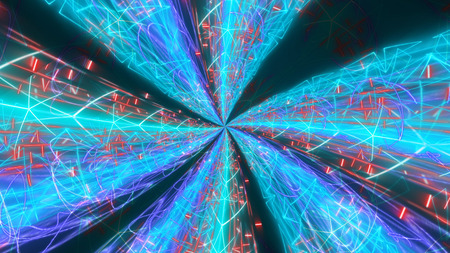 A futuristic 3d illustration of some psychedelic backdrop with radiant streams of light full of zigzag lines, shapes forms and crystals, shining in the blue background.  It looks supernatural.
