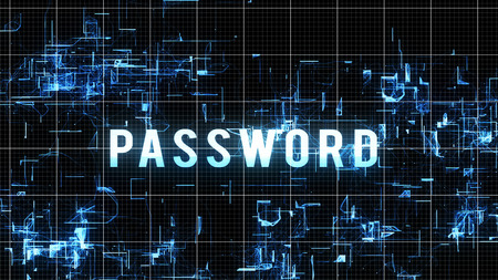 An inspiring 3d rendering of a digital, white and blue password order in capital letters placed in cyberspace with numerous liquid looking forms with a white grid in a black background.