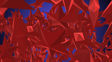 A multilayered 3d rendering of a lot of five-corner stars of a dark red color.