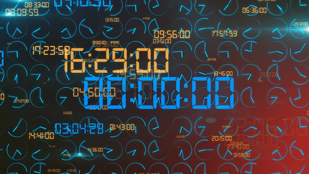 An amazing 3d rendering of a holographic timer with shining brown and blue numbers of hours, minutes, seconds. In the center there are six zeroes. The background is black.