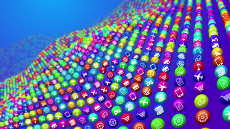3d illustration of social media news ball lying on uneven surface. They look like a sea bottom in some cyberspace ocean. The balls display transportation, music, finance, shopping services.