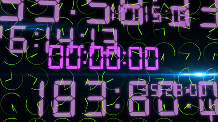 An ultramodern 3d illustration of an advanced timer with sparkling violet numbers of hours, minutes, seconds, microseconds. The numbers are located in the black background with green dials. Stock Photo