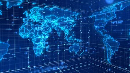 Een holografische 3D-weergave van de digitale communicatiekaart met volumetrische afbeeldingen bedekt met rasters. Alle continenten worden weergegeven met schitterende lichtblauwe contouren en lichtgevende vlekken.