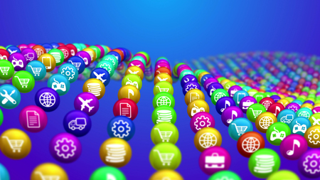 An astonishing 3d illustration of rising and falling colorful social news balls put in rows in the blue background. They display different social services, including internet, music, finance.