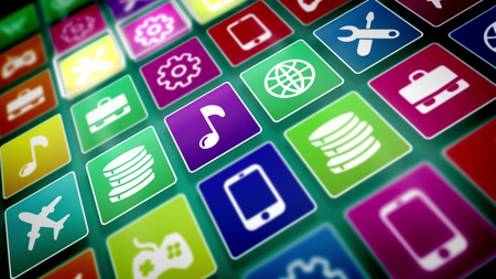 3d illustration of flat mobile application icons on a computer screen put diagonally. The icons are square and present a globe, note, mobile, airplane, cogwheel, coin, basket, briefcase signs. Stock Photo