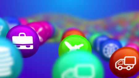 An original 3d rendering of unclear colorful social mass media balls flying in the blue background. They illustrate different social services, including music, finance, fixing and flight.