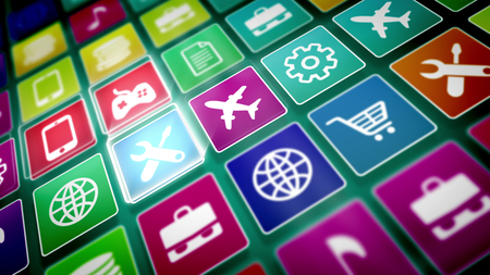 An abstract 3d rendering of multicolored mobile application icons on a pc screen placed askew. The icons are square and present airplane, repairing, typing, shopping, music, financial services.