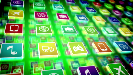 A multilayered 3d rendering of salient mobile application icons on a pc screen located diagonally. The icons are square and present a note, airplane, cogwheel, coin, case, basket, and other signs.