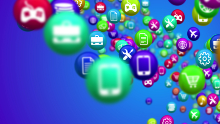 3d rendering of colorful social media news balls placed askew in lines in the blue background. They have different symbols, including internet, air flight, shopping, fixing and transportation. Stock Photo