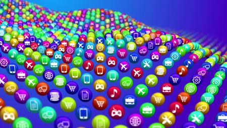 A striking 3d rendering of social media news balls lying on a steep surface. They look like a sea bottom in some cyberspace sea. The balls show transportation, music, finance, flying services.  Stock Photo