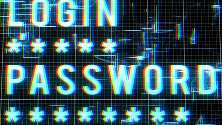 A stunning 3d illustration of a blurred white login password command with a lot of five corner asterisks and shimmering shapeless forms imposed on a blue network in a black background.