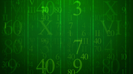 A multilayered 3d illustration of soaring numbers of Latin and Arabic origin put in the green cyberspace. They are of various sizes and shapes. They shine like digital bites of electronic mails.