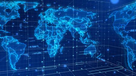 立方体の面をもつデジタル ニュース マップの多層 3 d レンダリングは、いくつかのネットワークで覆われて。 すべての大陸は、輝く光の青い輪郭と