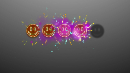 A happy 3d illustration of four emoji shimmering in the grey background with one black emoticon. The smileys are brown and violet. They have bright salute rays of yellow, white and blue colors. Stock Illustration - 91093273