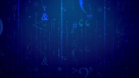 An impressive 3d illustration of winging computer symbols placed in the blue cyberspace with a network. The most numerous are commas, at-signs, equals, asterisks, and per cent.