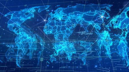 Un rendering 3D neo-geo dell'innovativa mappa del mondo della comunicazione con immagini cubiche coperte da reti. I continenti blu chiaro sono posti in aslant nello sfondo blu con cifre. Archivio Fotografico - 91120657