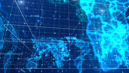 A futuristic 3d rendering of the digital communication world map with volumetric images covered with grids.  All countries are displayed with glowing light blue lines and luminous spots. Stock Photo