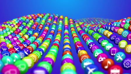A concave 3d illustration of multicolored social mass media balls situated in lines in the blue background. They offer different social services, including finance, fixing and communication.