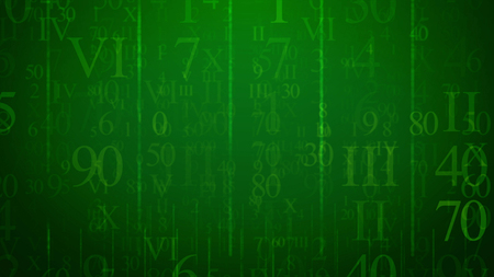An enigmatic 3d rendering of shimmering numbers of Latin and Arabic origin put in the green cyberspace. They are of diverse sizes and forms. They sparkle like mysterious bites of emails.