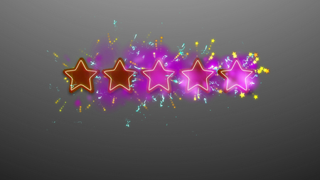 A cheerful 3d illustration of five rating stars shimmering in the grey background with numerous small sparkles of yellow and blue colors. The stars are brown and violet and have many beams.