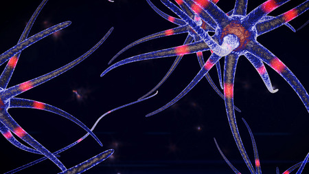An impressive 3d illustration ofsquid looking creature of a blue color through which tenaculars red neuron stimuli move in various directions. The neuron creatures are in the black background.
