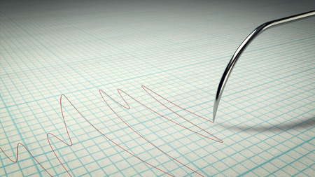 A thrilling 3d illustration of a lie detector with a metallic stylus writing a curvy line on a paper for school copybooks. The lines have different length. It means some person is lying. Stock Photo
