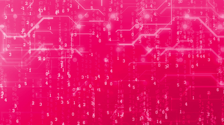 A feminist 3d rendering of a digital holographic cyberspace. The hacker style digits are dashing among wavy routes and curvy lines in the bright rosy background. They look pleasant and picturesque. Stock Photo