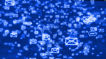 An innovative 3d illustration of flying in classic order blue emails, at signs, and three dot symbols, maintaining the global communication. They fly in the black background with a network.