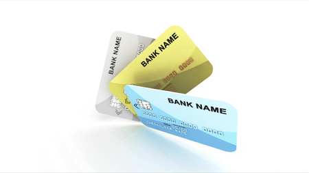 An advertising 3d illustration of three multicolored credit cards offering the electronic payment services of leading banks. The cards are placed like a fan on a white background