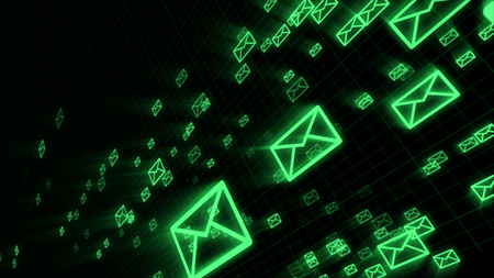 An exciting 3d rendering of flying green electronic mail envelops maintaining the world communication process. They are in the black background placed diagonally.
