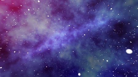 A futuristic 3d rendering of a huge nebula of stars and planets in the universe whirling in the purple, blue and black background. Several megastars single out and sparkle like big spots.
