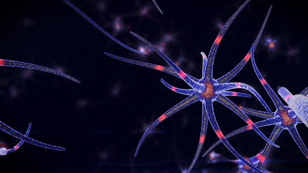 A microbiological 3d rendering of nano level tubes of a blue color through which red neuron signals move in different direction. The tubes with neurons are put in the black background.