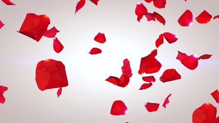 A festive 3d illustration of flying petals of red roses in the white background. They symbolize deep romantic feelings. They fly and swirl together reminding us about importance of love.