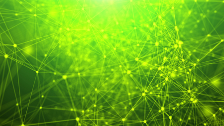 An exciting 3d rendering of a grid from abstract geometric triangles and nodes composing some futuristic communication system. They are located in the light green background.