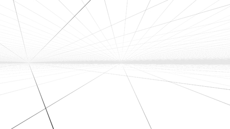 A sci-fi 3d rendering of a hypersonic tunnel drive serving as a time portal from one reality to another. A network of broken lines interlace with each other in the white background.
