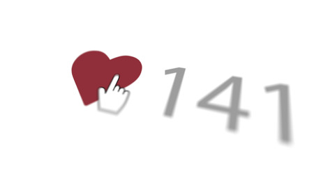 A warm 3d illustration of a love you sign where a finger presses a purple heart with 141 numbers put nearby in the white background turned diagonally. It looks lovely and delightful.