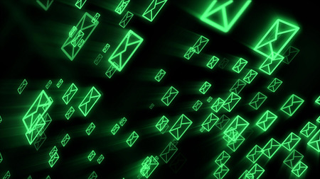 A striking 3d illustration of fast moving electronic mail envelops maintaining the world business communication process. They are in the black background flying diagonally. 写真素材