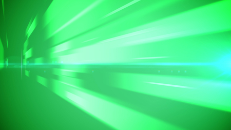 A vibrant 3d illustration of light green and white bar lines dashing forward like sun rays. The arty imagee encourages viewers to be energetic like balls of fire. The lines are located diagonally. Stock Photo
