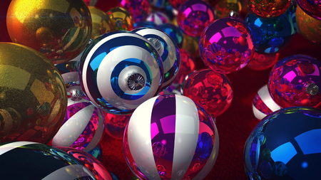 A funny 3d rendering of shining glass balls for a Christmas fir tree. They levitate over a green floor and create a celebratory mood. They are striped, golden, silver and dazzling. Merry Christmas!