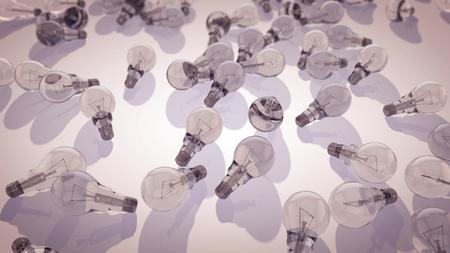 투명 한 전구의 multilayered 3d 렌더링 회색 화면에 배치. 형광 전구가 켜져 있고 내부에는 굽은 금속 나선이 있습니다. 그들은 소비자 사회를 상징합니다.
