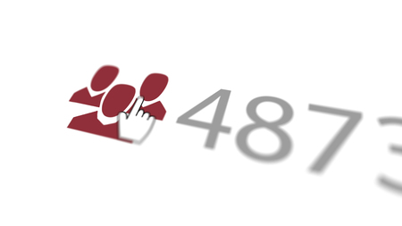 An enthusiastic 3d illustration of a like you sign where a finger presses three purple heads and shoulders, meaning friends, with 4873 put nearby askew in the white background.  Stock Photo