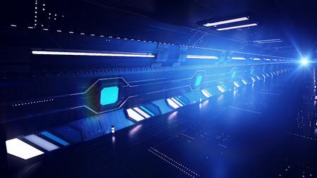 Een inspirerende 3D-weergave van een high-speed metro ondergronds gemaakt voor extralong trips. De metro gaat onder de bergen en bodems van de wereldzeeën. Het wordt gezien in profiel met ovale ramen. Stockfoto