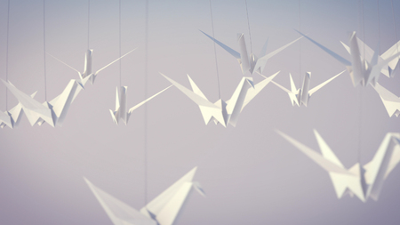 A lovely 3d illustration of a flock of white paper cranes soaring high in the grey background. They tell us about our happy childhood and young years.They fly in a big group.