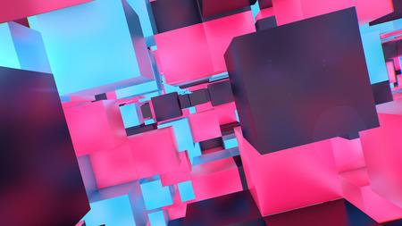 多数の空のポータルと幻想的なサイバースケープで急いで多色と多形キューブの神秘的な3Dレンダリング。彼らはいくつかの感動的な未来的な現実を 写真素材