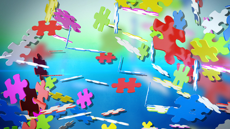 A cheerful 3d illustration of colorful puzzles flying in the light green and light blue air. They are spinning in different direstions and have different shapes and colors. They look hilarious.