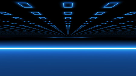 A multilayered 3d rendering of a hypersonic tunnel highway serving as a time portal from one dimension to another. Blue illuminators accompany the tunnel stretching out in the black universe.